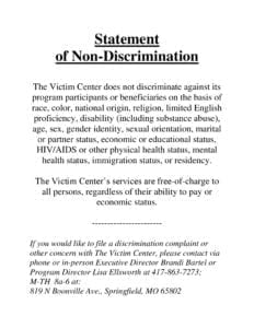 Statement of Non-Discrimination